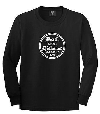 Distressed Tattoo Honor Death Before Dishonor Collar Bone LONG SLEEVE T-Shirt