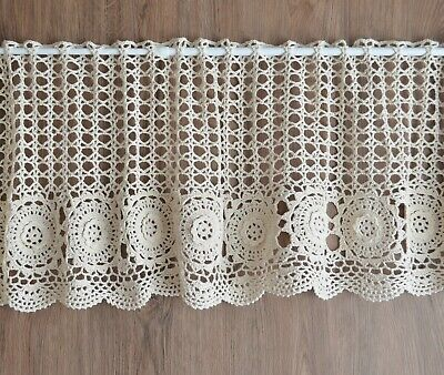 crochet valance shabby chic curtain with crochet doilies Farmhouse kitchen curtain french cafe curtain,lace curtain height 45cm18in.