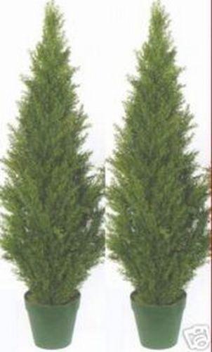 2 TOPIARY TOPIARY TOPIARY 48  OUTDOOR UV PLANT ARTIFICIAL BUSH CYPRESS TREE CEDAR PINE 4' PATIO afed5c
