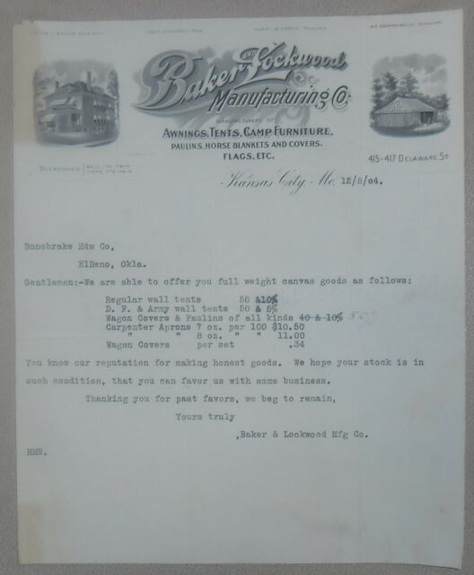 1904 Letterhead Kansas City Baker Lockwood Tent and Awning ...