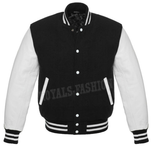 Varsity Letterman Baseball Black wool and Genuine White Leather Sleeves Jacket