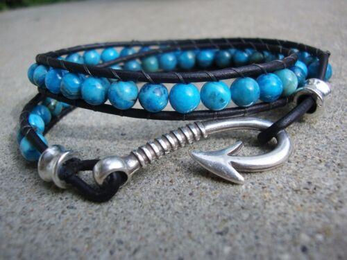 Men/'s Silver Hook Beaded Leather Double Wrap Bracelet   Gemstone Bracelet USA