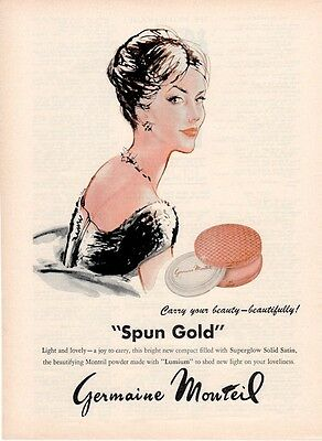 "1961 Germaine Monteil ""Spun Gold"" Makeup ART PRINT AD"