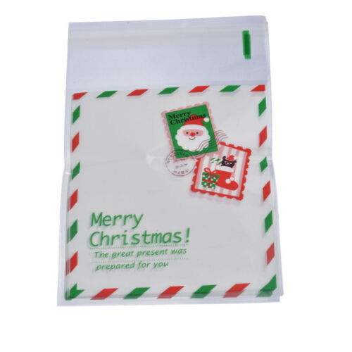 Christmas Self Adhesive Seal Plastic Bags Candy Cookies Pouches 15x10cm 50pcs