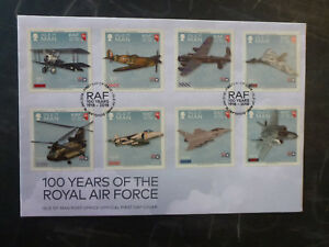 2017-ISLE-OF-MAN-100yrs-RAF-SET-OF-8-STAMPS-FDC-FIRST-DAY-COVER