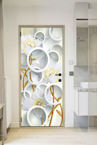 3D Circle Flowers Self Adhesive Living Room Door Mural Wall Sticker Photo Decor