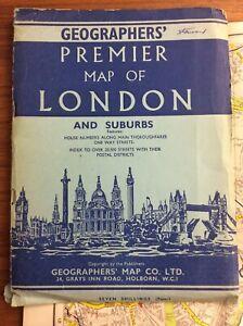 Vintage-C1950s-PREMIER-MAP-OF-LONDON-amp-SUBURBS-Large-34x45-Inch-COLORFUL-Foldout