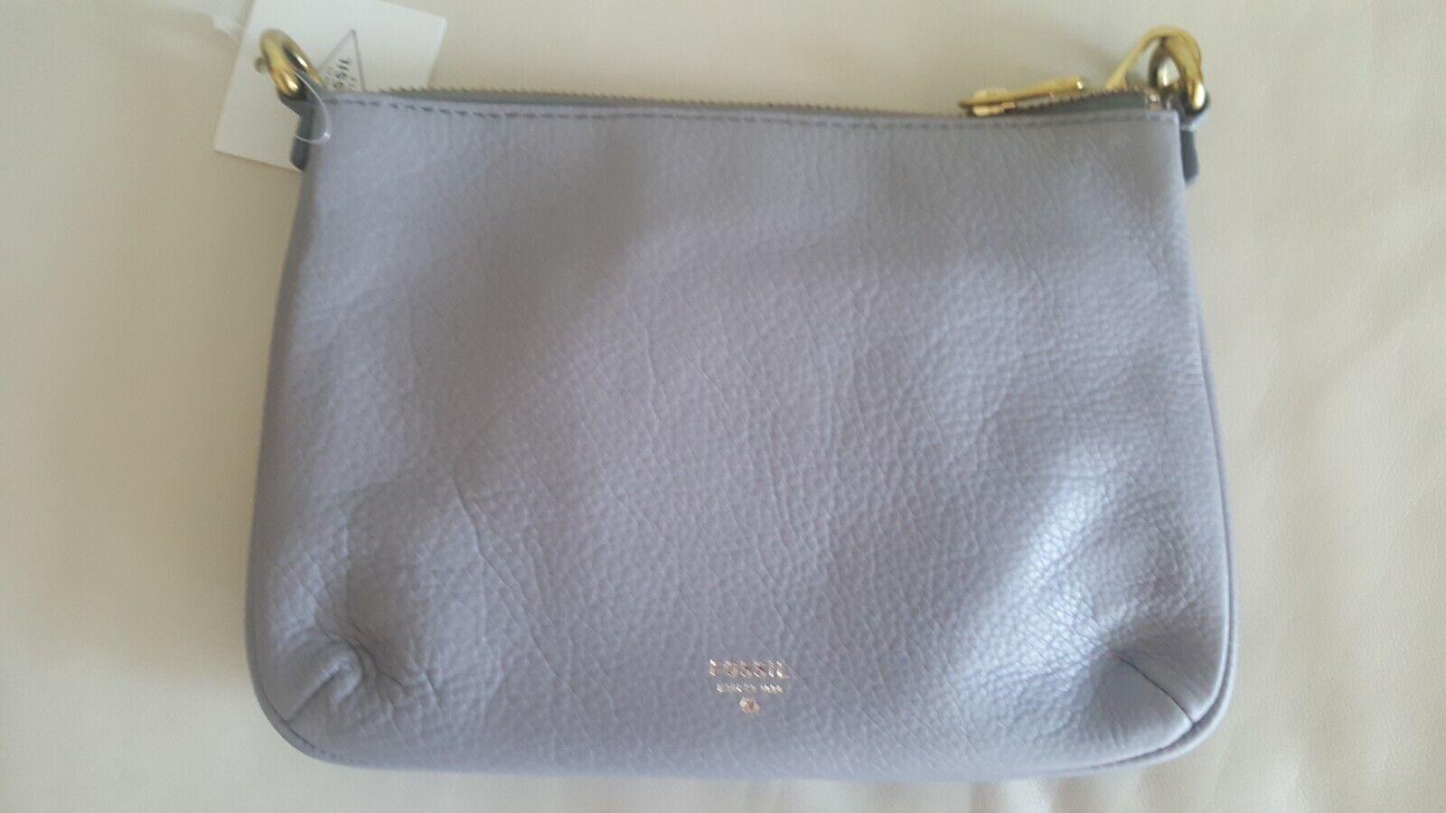 Fossil Sofia SHB1514020 Grey Genuine Leather MD Crossbody Bag NWT