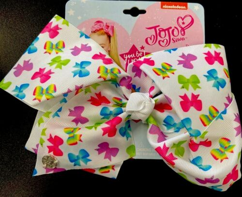 JoJo Siwa Signature Collection Large Hair Bow Clip White w//Rainbow Bows Print
