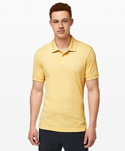 New-Lululemon-Men-s-Tech-Pique-Golf-Polo-sz-L-Sun-Shadow-Yellow-LM3BCSS-98