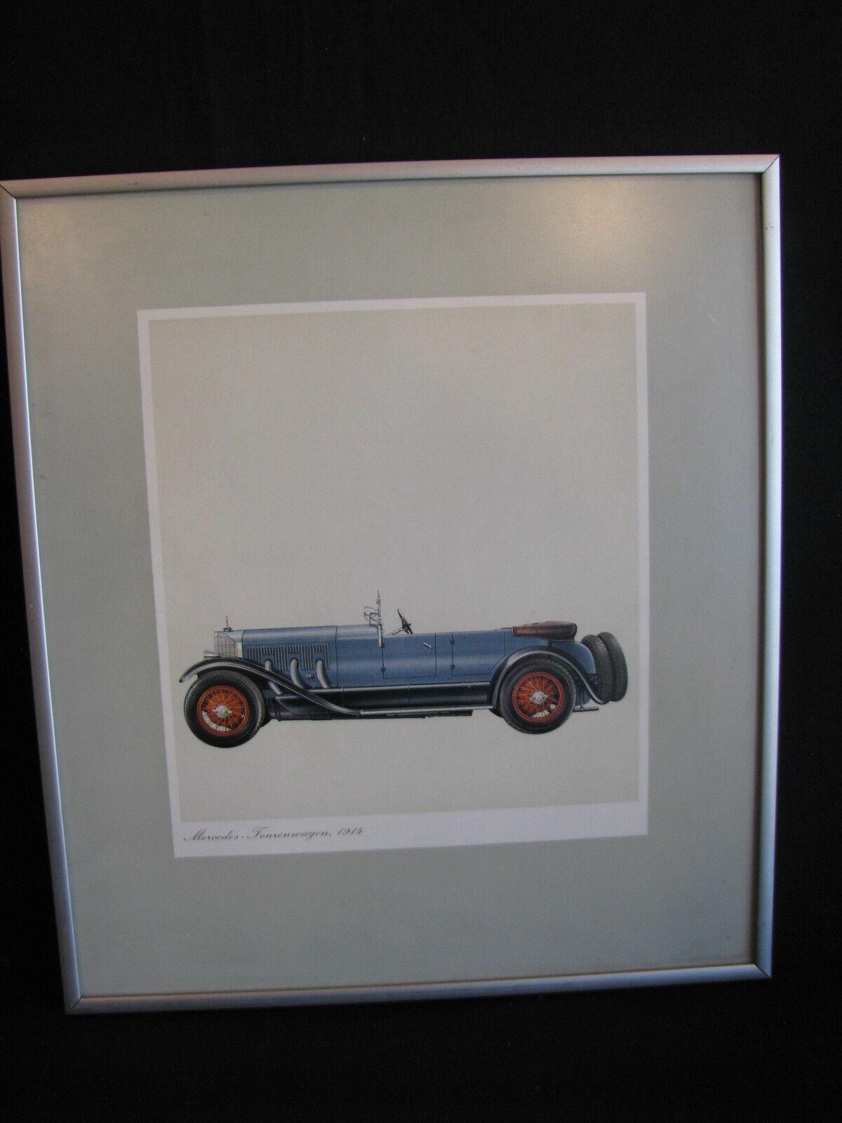 Litho in frame, Mercedes Tourenwagen 1914 (JS)