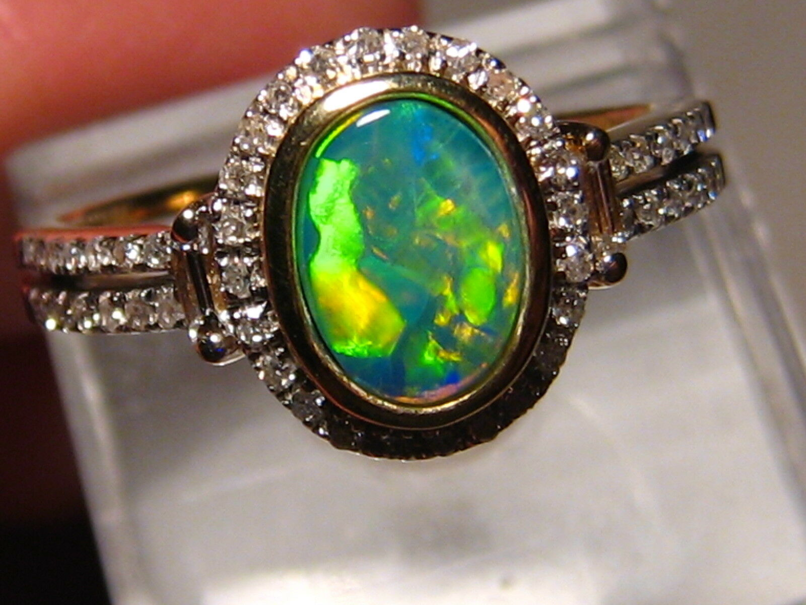 5febdeafd color Australian and Diamond Ring 14k Yellow gold free resize Neon ...