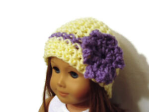 Crochet-Hat-Fits-American-Girl-Dolls-18-034-Doll-Clothes-Yellow-with-Purple-Flower