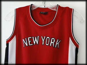 Basketball-Jersey-w-Distressed-Bling-New-York-212-Red-Black-amp-White-Juniors-Sz-M