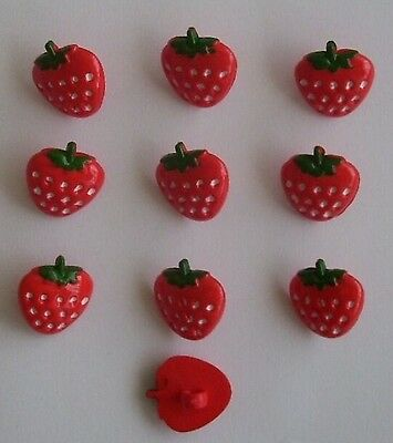Strawberry Novelty Buttons x 10