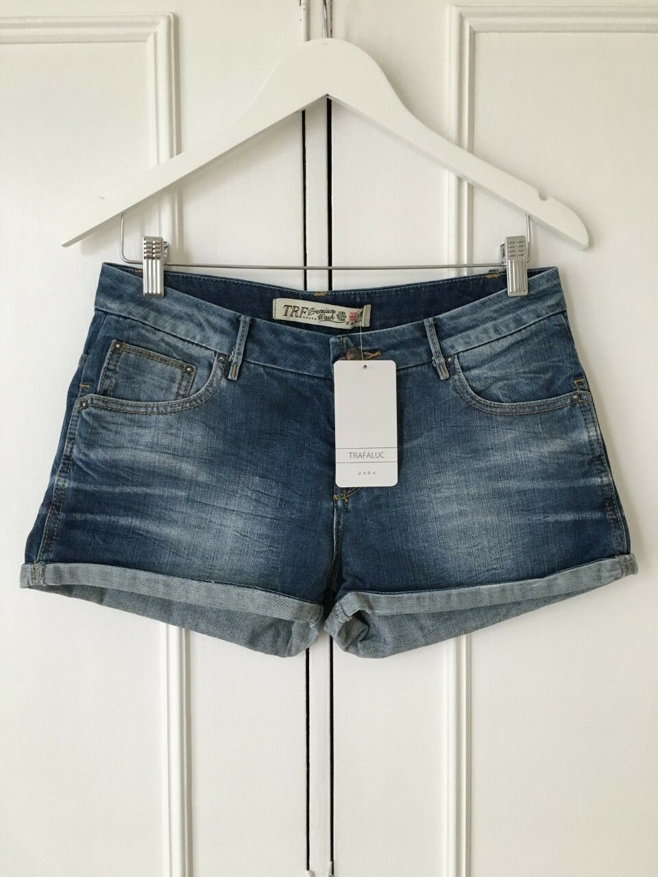 Zara TRF Denim Shorts in 'Mid-bluee' (S UK10 US6 MEX26) (RRP .99)