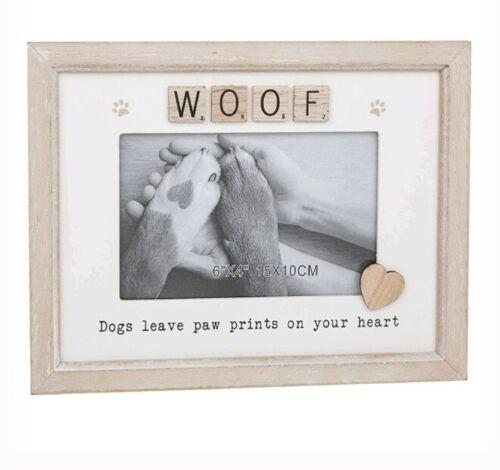 """Scrabble sentiment chiens laisser Pawprints sur votre Cœur Cadre Photo 6/""""x4/"""" Cadeau"""