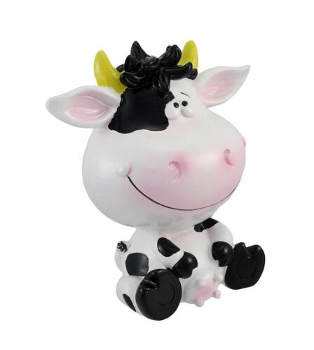 Details about  /Resin Toy Banks Silly Sitting Black And White Milk Cow Children`S Coin Bank 6 X