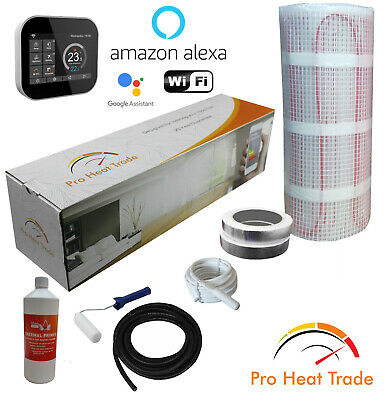 6m sq, White WiFi Thermostat Electric Under Laminate//Wood Foil Underfloor Heating Mat Kit
