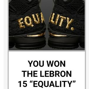outlet store f9060 fc4a3 Details about Lebron 15 Equality black Size 12 Confirmed Nike