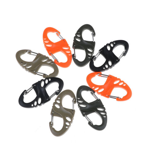 10pcs outdoor climbing hook s type carabiner dual buckle keychain Ke Z0HWC V ly