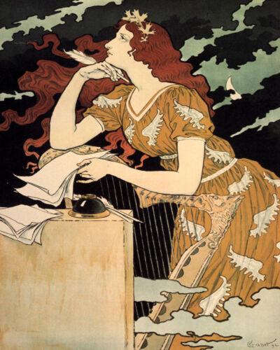 POSTER ART NOUVEAU ROMANTIC WOMAN FEATHER INK PEN WRITING VINTAGE REPRO FREE S/H