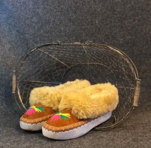 Femme Femmes Cuir Naturel Peau De Mouton Chaussons Mocassins Taille UK6.5//EU40