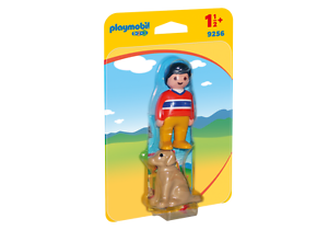 9256-playmobil-1-2-3-Mann-mit-Hund-fuer-Kinder-ab-1-Jahren-18-Monate-NEU