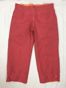 Nike-Women-s-Size-MEDIUM-Pink-Orange-Pants-Capris-Cropped-Cotton-Poly-Pockets