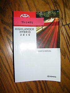 Image Is Loading 2016 Toyota Highlander Hybrid Owners Manual Toy421