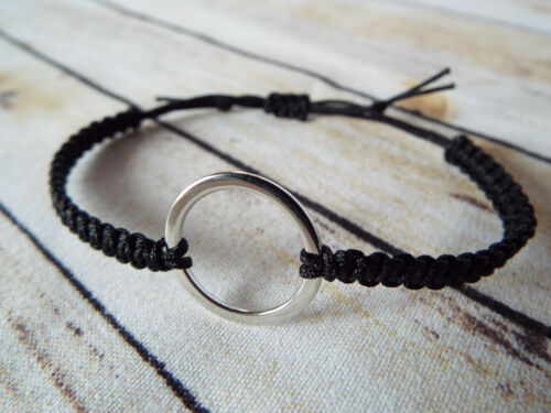 Makramee Armband Ring Schwarz Grau Geschenk