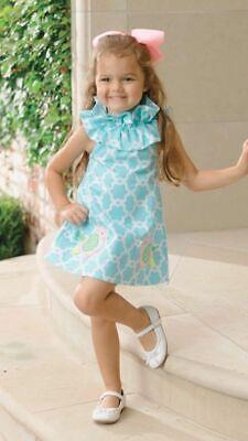 Mud Pie Baby Girl Easter Spring Blue Little Chick Bird Ruffle Dress 1142101