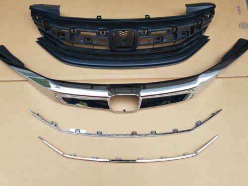 fits 2016-17 ACCORD 4dr SEDAN Front Bumper Grille w Chrome Molding Trim SET 4PC