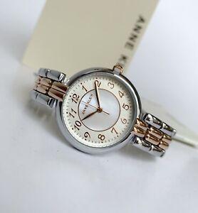 Anne Klein Watch * 3657MPRT Breguet Numerals MOP Rose Gold & Silver Steel Women
