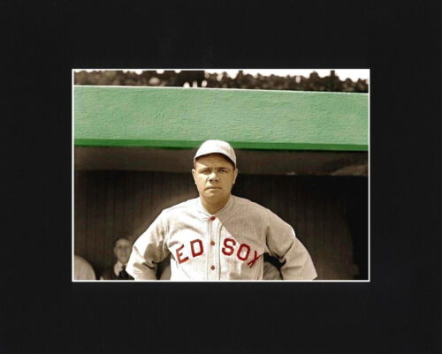 Babe Ruth Red Sox Large Matted Glossy Photo Picture