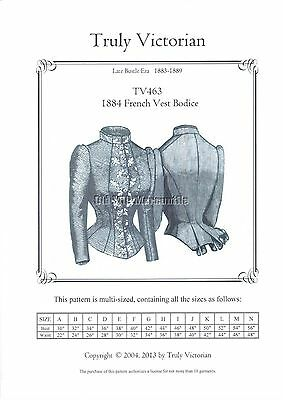 Truly Victorian sewing pattern for 1884 French Vest Bodice TV463 all sizes