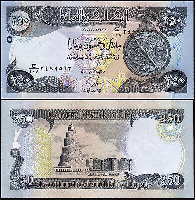 Consecutive P-91a 5 Pcs LOT UNC- Iraq 250 Dinars 2003