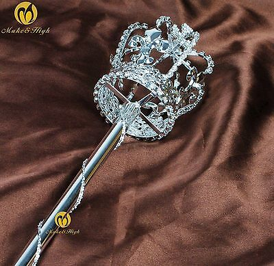Unisex Pageant Long Sceptre Wand Crystal Handheld Prop Staff Party Accessories