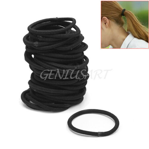 Simple 50XWomen Black Elastic Hair Band Ropes Ring Ponytail Holders Accessories