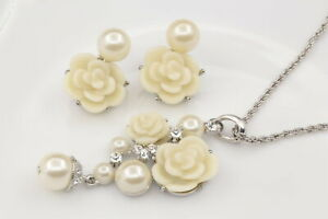 white-cream-pearl-bead-resin-flower-pendant-silver-plated-necklace-earrings-U72