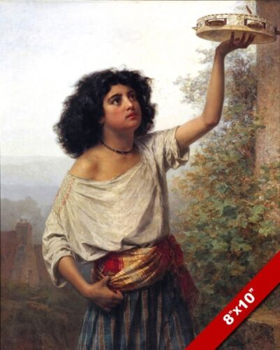 YOUNG ROMAN GYPSY GIRL WOMAN WITH TAMBORINE PAINTING ROME ART REAL CANVAS PRINT