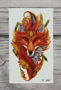 Uk Seller Fox With Leaves Temporary Tattoo Waterproof Body Art A612 Ebay