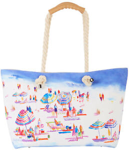 Sand-amp-Surf-Tote-Handbag-One-Size-White-blue-multi-by-Ellen-Negley-Artist