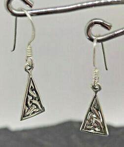keltischer Knoten Ohrhänger Dreieck Ohrringe 925 Sterling Silber Neu Celtic