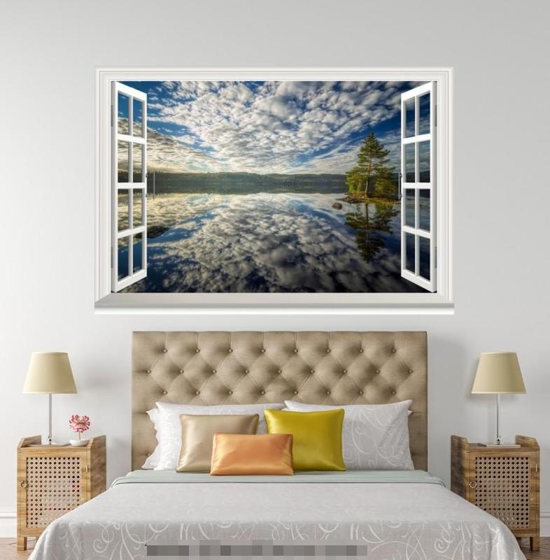 3D Shadow Weiß Cloud 228 Open Windows WallPaper Wandbilder Wall Print AJ Jenny