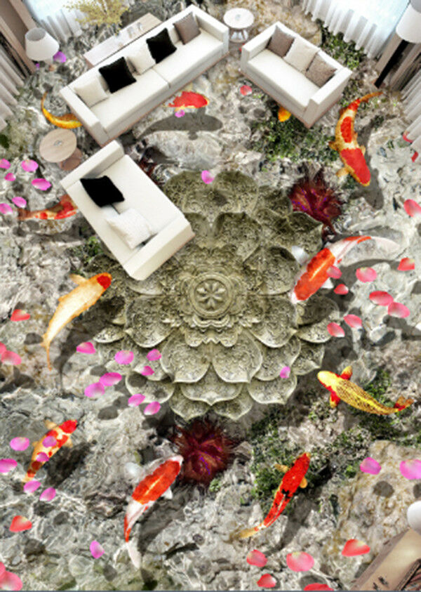 3D Koi Flower 83 Floor WallPaper Murals Wall Print Decal AJ WALLPAPER US Carly