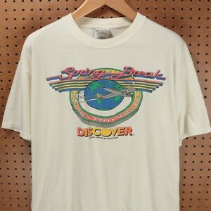 vtg-1999-Discover-Card-spring-break-t-shirt-XL-90s-00s-y2k-faded-distressed