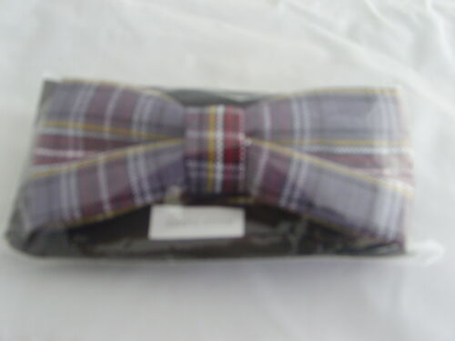 TARTAN-Burgundy//Grey Bow Tie/>/>Matching tie Cummerbund /& Hanky R  Available 009