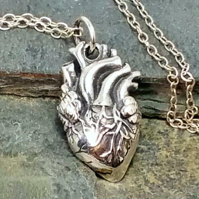 Anatomical Human Heart Necklace 925 Sterling Silver - Surgeon Charm Jewelry NEW