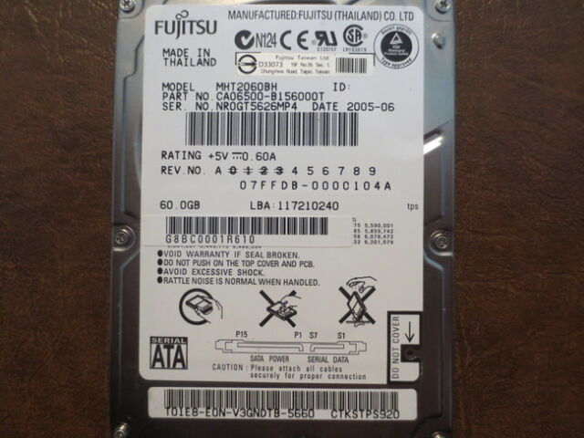 """Fujitsu MHT2060BH (CA06500-B156000T) 07FFDB-0000104A 60gb 2.5"""" Sata Hard Drive"""